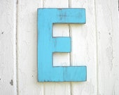 Shabby Chic Wooden Blue Letter E Wall Decor Rustic Cabin Cottage Nursery Childs Kids Decor