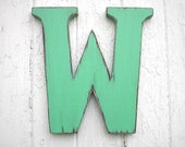 Shabby chic Rustic Personalized Wedding Initials Letter W Dorm Decor Wooden Wall Decor Green Serif font