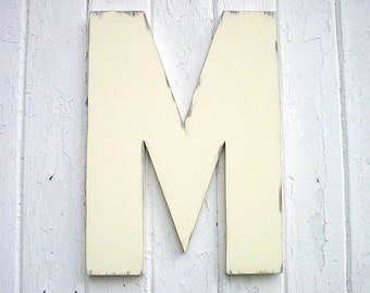 Wooden Letters 18 inch M Distressed Shabby Chic Rustic Cabin Wall art Home decor Signs