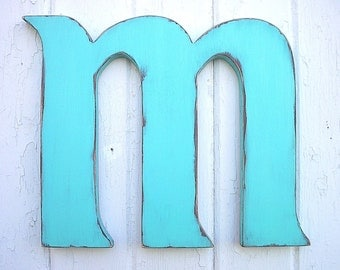 "Distressed Wooden Letter 12"" m lower case Wall hanging Kids Wall Art Nursery Decor"