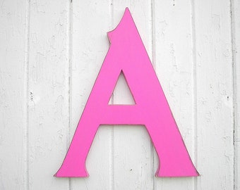 "Wooden Wall Letters 18"" ""A"", Nursery Wall Decor Letter Fuchsia Wall Decor Dorm Letter Kids Gift"