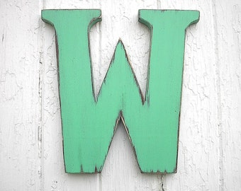 wooden letters 12 inch serif w shabby chic rustic wedding initials letter w dorm decor wooden wall decor green serif font