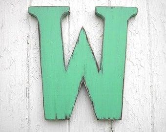 Wooden Letters 12 inch serif W Shabby chic Rustic Wedding Initials Letter W Dorm Decor Wooden Wall Decor Green Serif font
