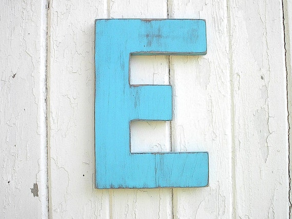 Shabby Chic Wooden Letters 12 inch Block style Blue Letter E Wall Decor  Rustic Cabin Cottage