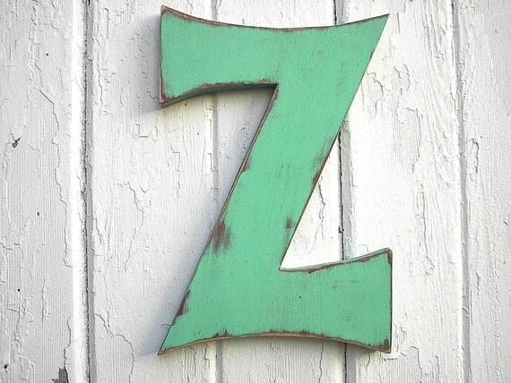 Wooden Letter Sign Z 12 inch Green distressed Rustic Shabby Chic Cottage Cabin Decor