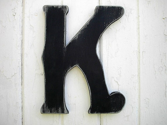 Shabby chic Letter K Wooden Rustic Sign Black Vintage style Primitive Cabin Cottage Country Lake House Decor