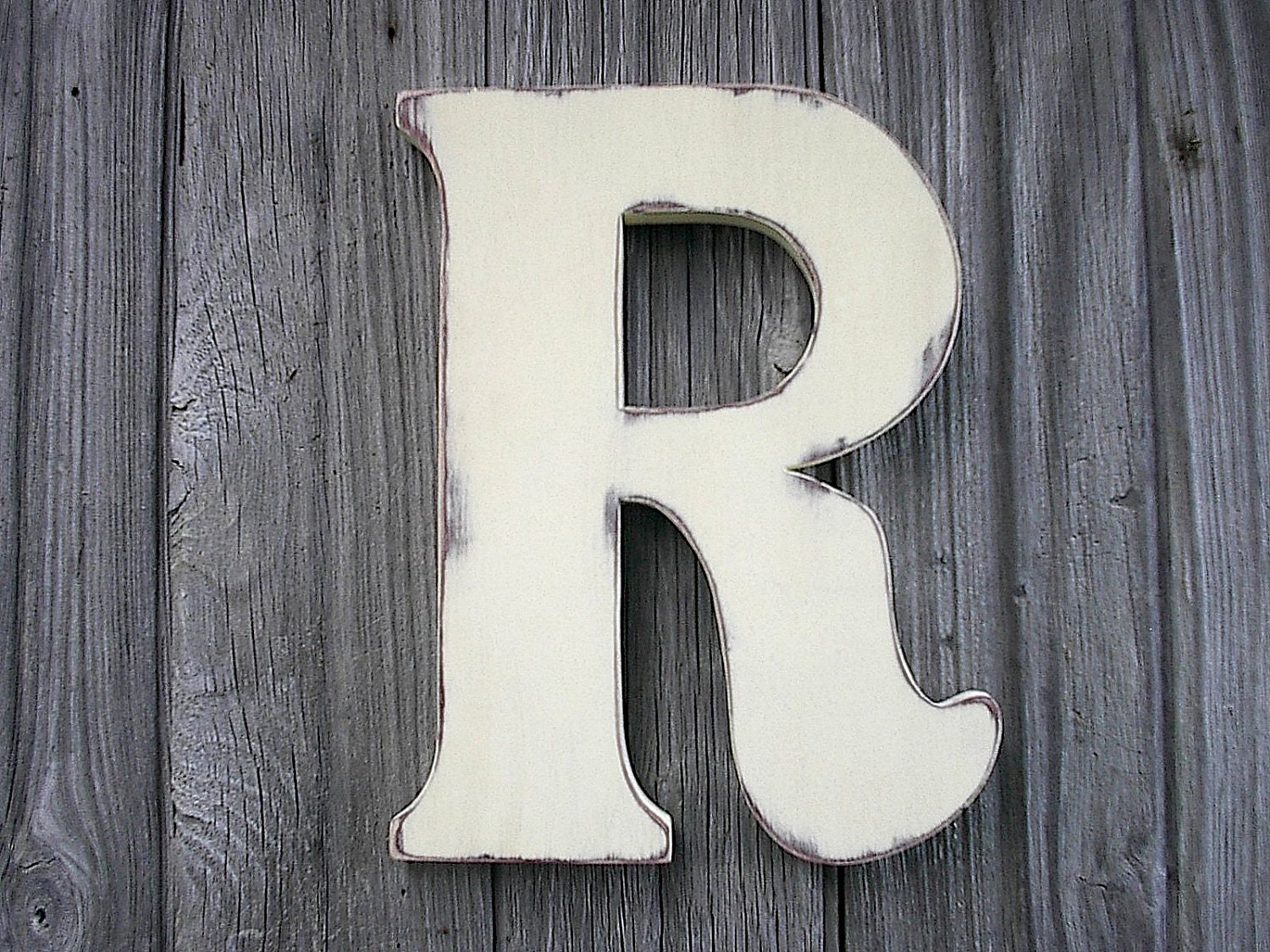 Wooden letters r 12 antique white distressed rustic - Wood letter wall decor ...