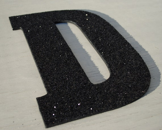 Decorative black 13 glitter wall letters decor by for Black wall letters