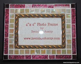 Elegant Pearl and Burgundy Mosaic Photo Picture Frame  MOF1282
