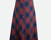 Vintage 1970's Maxi Skirt - Tartan Plaid Skirt - A Line Skirt