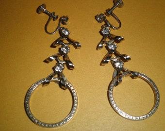 Vintage Rhinestone Screw Back Dangle Earrings