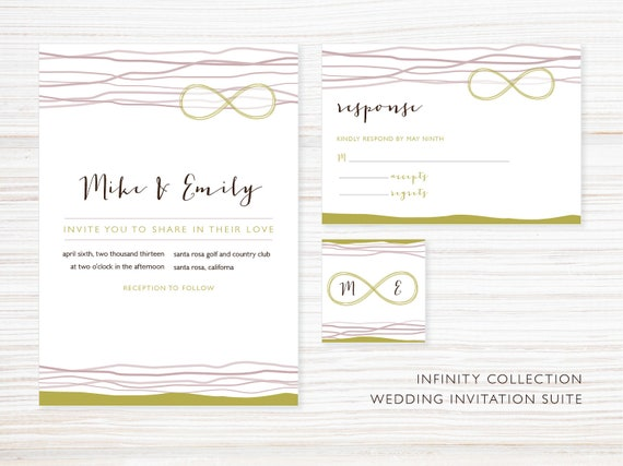 Items Similar To Printable Wedding Invitation Suite Infinity Collection On Etsy