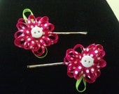Pink Flower Hair Pins  k001