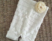 Ivory Infant / Newborn Ruffled Petti Romper with embellishment - great for first pictures