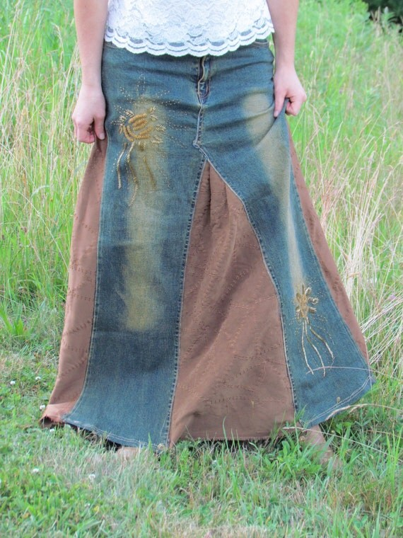 bohemian detailed faded denim skirt with a by
