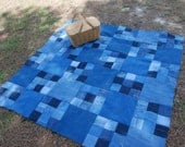 Denim quilted picnic blanket, upcycled blue jeans, checkerboard pattern - support domestic adoption