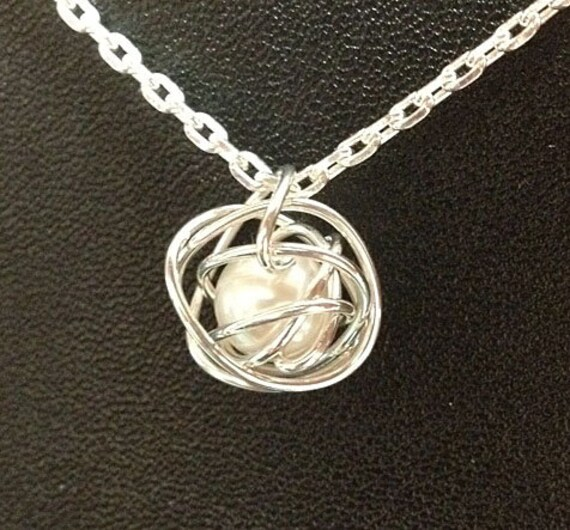 Sterling Silver Wire Knot Necklace with Genuine White Pearl