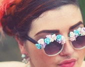 SALE Pastel Ceramic Flower Sunglasses Floral Handmade Kitsch Festival Folk Shades