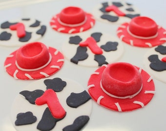 Edible Toy Cupcake Toppers Jessie Toy Cowgirl Hats and Cowprint Cupcake toppers 48 qty for a cow girl party, western party, baby shower