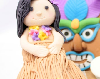 Fondant Hula Girl Cake Topper 1 qty for a birthday cake, luau - fondant cake topper for luau, tropical party, surfer party