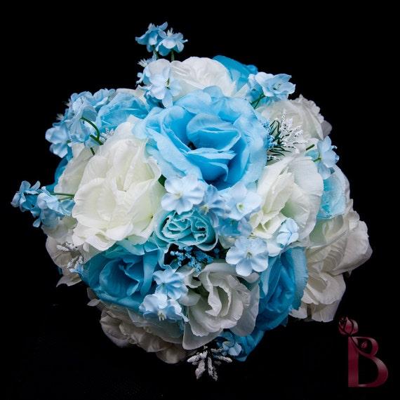 Vintage Blues something blue style bridal wedding silk flower bouquet