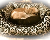 Personalized Pet Bed (Dog or Cat) with Removable Pillow Insert- Custom made with Pet's Name