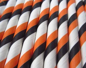 25 Black Orange and White Diagonal Stripe Paper Straws, 25 pcs - Drinking Straw - Party Supplies