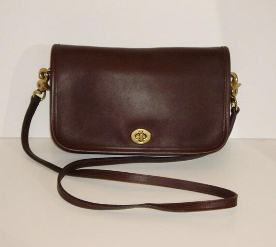 COACH Convertible Clutch Crossbody Bag, Vintage Mahogany Brown Leather Shoulder Purse