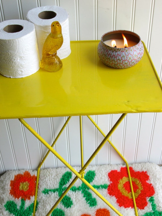 Sunny Yellow Tray Table Folding side table Metal  Vintage  Porch Furniture Lightweight Painted