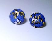 Blue Yellow And White- Fabric  Button Earrings- flower Stud Earrings-Handmade Post Earrings
