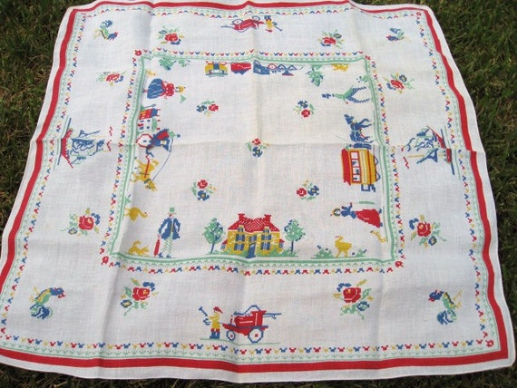 Vintage Tablecloth, Vintage Table Cloth,  Vintage Tablecloth in Red, Blue, Yellow, Green