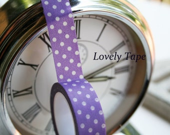 Purple Washi Tape with White Polka Dots-Lovely Tape