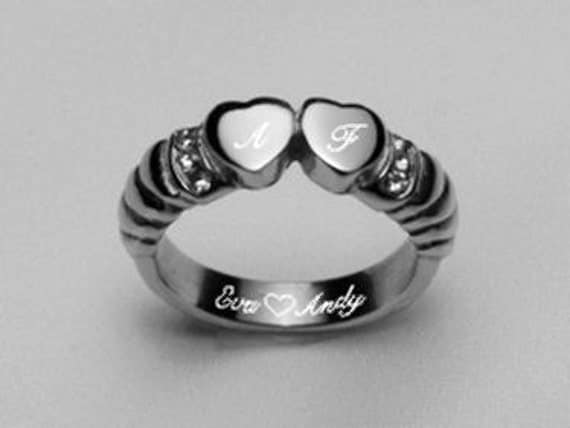 Personalized Monogrammed Stainless Steel Double Heart Ring Custom Engraved, Promise Ring