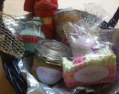 Gift Basket- Homemade spa set-Natural Soap- Handmade soap- homemade gift basket