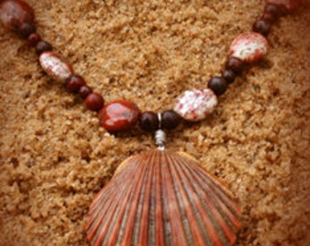 Shell Necklace with Agate Stones & Jasper Rounds