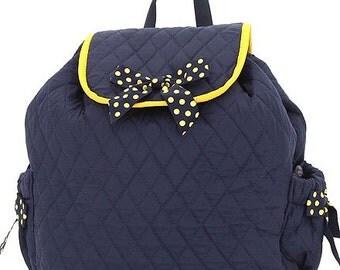 Belvah Personalized Monogrammed Quilted Backpack, School bag dark navy & gold