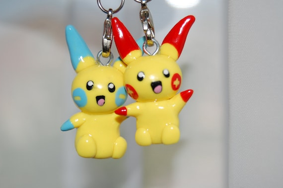 Minun and Plusle, Pokemon, Polymer Clay Charm