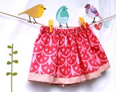 Toddler Girl Skirt Pink Batik and polkadot cotton