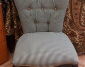 Bespoke Vintage, Reclaimed and Restored Black and White checked Queen Anne Occasional Chair