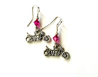 Motorcycle earrings dangling with hot pink crystal Handmade Gift