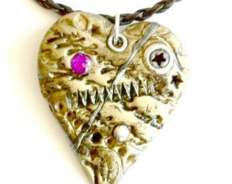 Broken Heart Pendant Steampunk mended heart necklace Handmade Gift