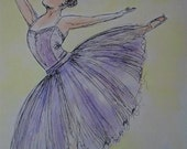 Ballet Lesson - Watercolour Painting Print - Greetings Card - Blank Inside