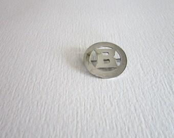 Vintage Sterling Silver Monogram B Circle Pin Brooch
