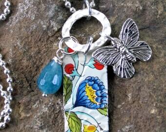 Gypsy Soul Blue Blossom Vintage Tin Charm Necklace