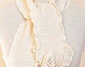 Lacy Trim cream  cable cashmere Scarf