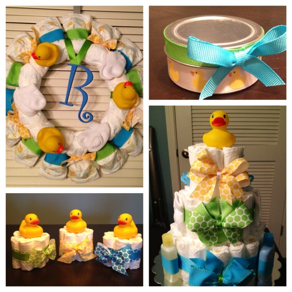 Rubber Ducky Baby Shower Decorations Gift by DiapersAndDoodads