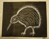 Woodcut Print:  Kiwi in Black