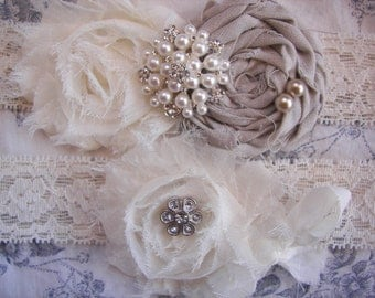 Ivory Lace Bridal Garter , Wedding Garter ,Rustic Garter, Wedding Garter Set , Toss Garter included , Pearl Accent