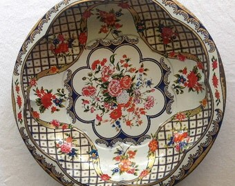 Vintage Daher Round Tin Floral Serving Bowl MADE IN ENGLAND