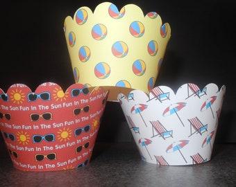 Beach Summer Fun Cupcake Wrappers- Set of 12  Fun in the Sun Ocean Pool Party